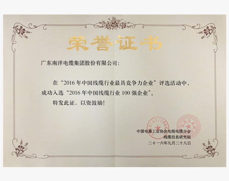 中国行业百强企业荣誉证